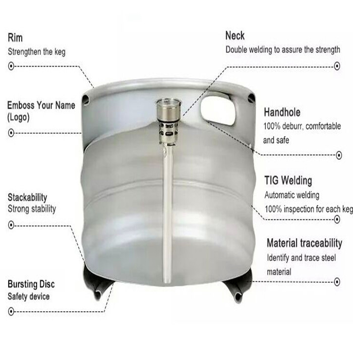 Popular AISI 304 Food grade stainless steel container drum draft empty Euro beer keg 30L